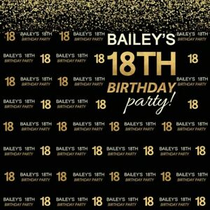 18TH EIGHTEENTH BIRTHDAY PARTY BLACK GOLD BANNER BACKDROP BACKGROUND