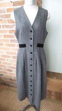 Vintage Gray Wool Jumper / Dress Black Velvet Accents by Allen Solly Size 8 P