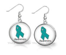 Teal Ribbon Ovarian Cancer Awareness Support Dangle Earrings 20mm Round Setting