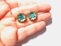 Aquamarine Blue Rhinestone Enamel Layered Flower Screw Back Earrings Vintage