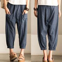 Women Elastic Waist Wide Legs Stripe Loose Harem Pants Long Pants Trousers Plus