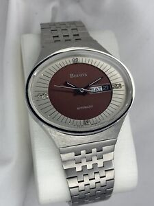 NOS Vintage 1979 Men's Diamond Bulova Steel Swiss Day-Date Automatic 443 01 09