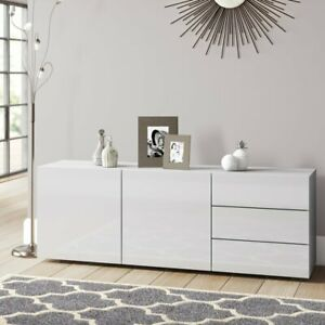 White Gloss Sideboard Cabinet Doors Wide Drawers Unit Storage RRP £430.00