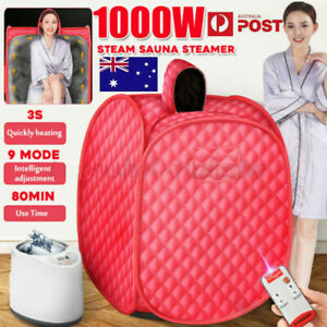 1KW Portable Steam Sauna Tent Timer Spa Body Loss Weight Detox Therapy Red 2.7L