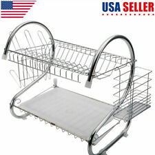 2 Tier Kitchen Stainless Dish Rack Drainer Sink Cutlery Drying Holder Dryer Tray