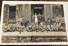 WWI RPPC Injured British Soldiers Group & Nurse + Bulldogs Photo Postcard