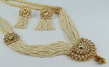 Gold Plated Pearl Bollywood Beads AD Kundan Jewelry Necklace Set Earring