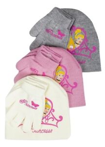 Disney Princess Girls Hat & Gloves Set - Cream / Pink / Grey