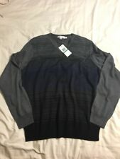 NWT Mens Large Calvin Klein Gray V Neck Sweater