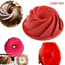 Red Large Spiral shape Bundt Cake Pan Bread Chocolate Bakeware Silicone Mold US