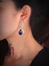 Boucles d`Oreilles Clous Vintage Baroque Cristal Bleu Vintage Ancien Style