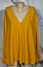 MICHAEL MICHAEL KORS Golden Yellow Textured Top 3X Long Sleeves Elastic Cuffs