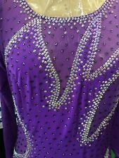 Smooth Standard Purple Mix Crystals Ballroom Dance Dress Size Md