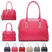Ladies Stylish Patent Crocodile Handbag Classic Croc Shoulder Bag Tote MA36548