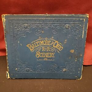 RARE Antique Victorian Foldout Post Picture Book Baltimore and Ohio R&R Scenery