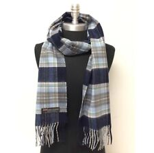 Men's 100% CASHMERE SCARF Scotland Soft Wool Wrap Plaid Navy Blue Gray green