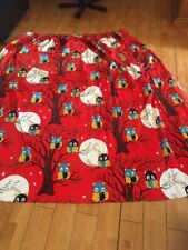 RETRO 60s 70s VINTAGE CUTE OWLS FABRIC CURTAIN LINED