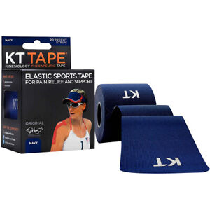 "KT Tape Cotton 10"" Precut Kinesiology Therapeutic Sports Roll, 20 Strips, Navy"