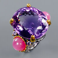 Amethyst Ring Silver 925 Sterling AAAA+ Color IF 30 ct+ Size 7 /R140726