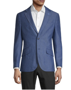 TAILORBYRD $325 Men's Chevron Regular Fit Blue Jacket Size 42L
