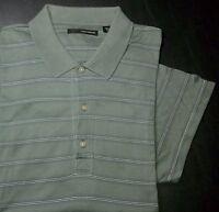 Greg Norman Shirt Golf Polo XL Stripes Green White Navy Blue Shark Logo s1725