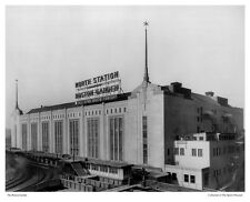 """11x14"""" PHOTO: EXTERIOR VIEW OF OLD BOSTON GARDEN, NORTH STATION """"ALL STAR BOUTS"""""""