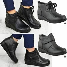 Womens Ladies Smart Low Wedge Heel Lace Up Shoes Work Formal Office School Size
