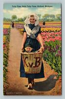Holland MI Nelis Farm Tulip Time Garden Dutch Maid Child Linen Michigan Postcard
