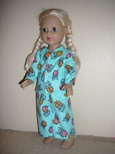 """Turquoise Owl Pajamas 18"""" Doll Clothes American Girl"""