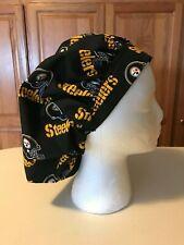 Scrub or Chef Hat Pittsburgh Steelers Cotton Fabric Black Set #3 Medical Nurse