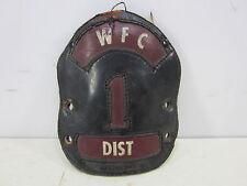 Vintage M.S.A. Co. Leather Fireman's Helmet Badge-WFC Dist. #1
