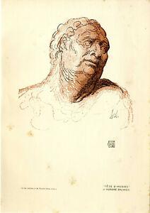 Honoré Daumier Tête d'homme Histor. Druck v.1911