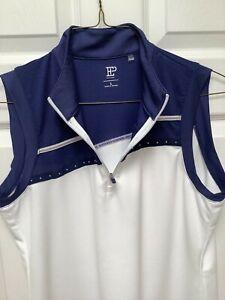 EP New York Women's Sleeveless Golf Shirt L Navy Blue&White 1/4 Zipper Trim Deco