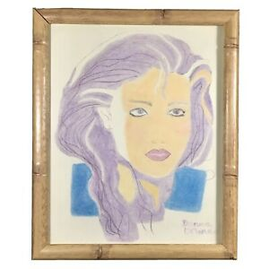 Vintage RETRO 1980s Original Colored Pencil ART Signed by Artist w/ Bamboo Frame