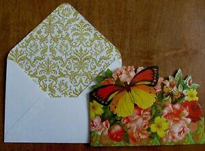 """Punch Studio Ephemera """"Butterflies & Roses"""" Die-Cut Tiny Note Card & Envelope"""