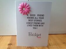 Handmade friend birthday card- A good friend knows all your best stories - perso