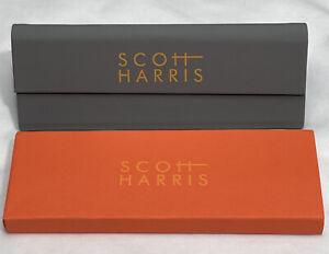 Scott Harris Triangle Tri-Fold Sunglasses Case Gray Magnetic Close Folds Flat