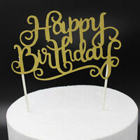 Gold Silver Happy Birthday Letters Cake Topper Anniversary Decorating Supplies