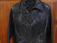 BRANDED GARMENTS INC Leather Jacket Fringe VINTAGE Black Motorcycle Womens SZ 8