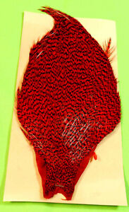 Hareline Grizzly Capon Streamer Neck RED Trout Fly Tying Rooster Hackle  Buggers