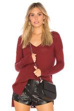 NWT Soft Joie Women's Khari Knit V Neck Sweater in Merlot sz S