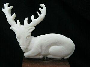 Unusual Hand Carved Scrimshaw Style Statue Deer Stag Reindeer (Bubalus Bubalis)