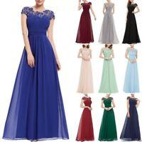 2019 Neu Lang Abendkleid Ballkleid Brautjungfernkleid Kleid Chiffon Spitze BC285