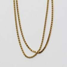 Sterling Silver Gold Plate 3mm Box Chain Necklace (36 inches)