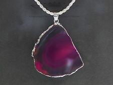 925er Silberkette, Achat, Edelstein, pink-klar-milchig, Heilstein Silberrand neu