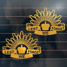2 x LEST WE FORGET ANZAC Stickers 150mm aussie army ute car window decal