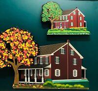 Shelia's Amish Farmhouse Pair Autographed Wood Shelf Ledge Sitter