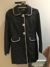 Black white polka dot trench coat winter jacket SIZE 8 vintage style rockabilly