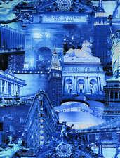 Timeless Treasures Fabric - New York City - Metallic Blue - 100% Cotton