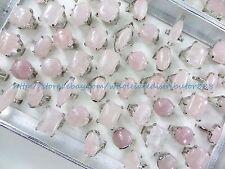 15pcs Rose Quartz Gemstone Ring chunky wholesale ring jewelry lots
